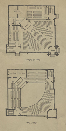 Universalist Church of Our Father, interior plan